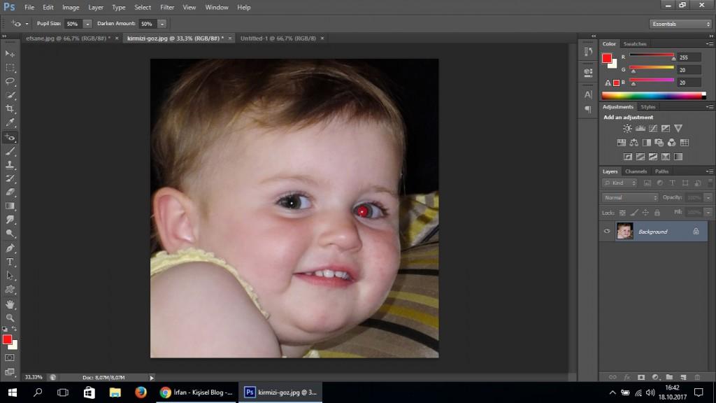 photoshop kırmızı göz düzeltme
